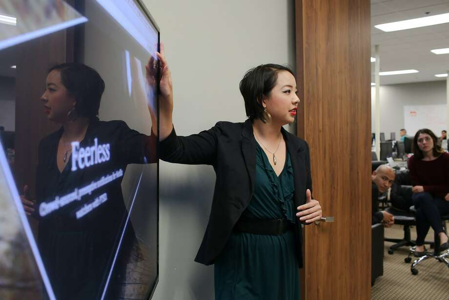 Danielle Leong presents her app Feerless at Coding Dojo in San Jose, Calif. on Friday, Jan. 30, 2016. The Google Chrome extension warns viewers of potentially disturbing content. Photo: James Tensuan, The Chronicle