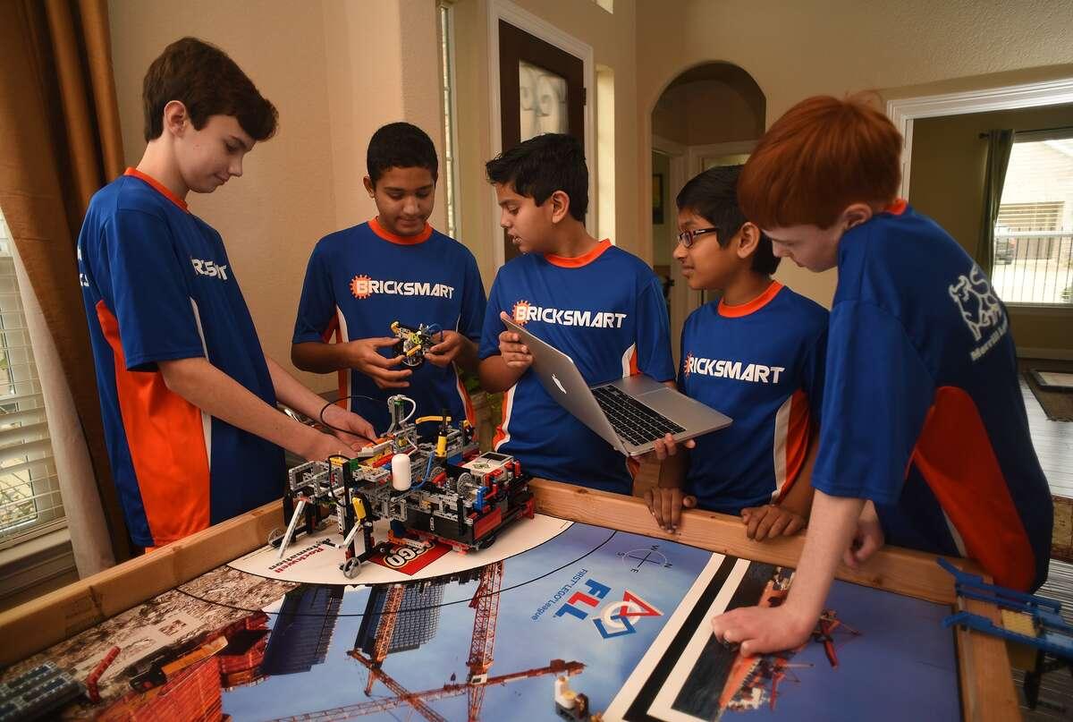 The Rubicon Academy Robotics team includes Brant DeGroot, left, Kabir Jolly, Vali Khan, Sanjiv Iyer and Jack Paylor.