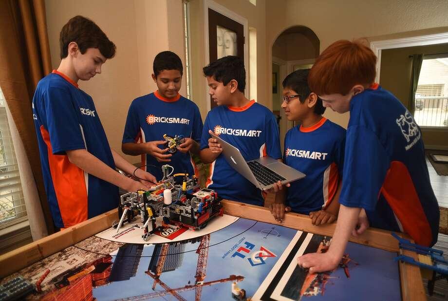 The Rubicon Academy Robotics team includes Brant DeGroot, left, Kabir Jolly, Vali Khan, Sanjiv Iyer and Jack Paylor. Photo: Jerry Baker, Freelance