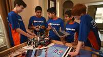 The Rubicon Academy Robotics team includes Brant DeGroot, left, Kabir Jolly, Vali Khan, Sanjiv Iyer and Jack Paylor.