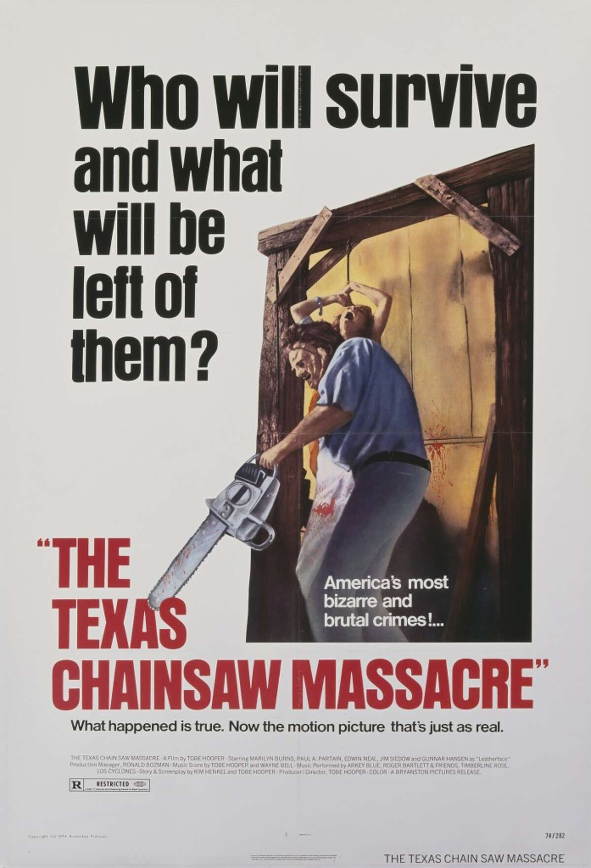"""The Texas Chainsaw Massacre: The 1974 version seems to be the one people like the most. With the name Texas in the headline, how could we have left it off? Little known fact: The movie is not actually based on a true story. """"Awesome drive-in movie."""" -- Truth-Hits-The-Fan"""