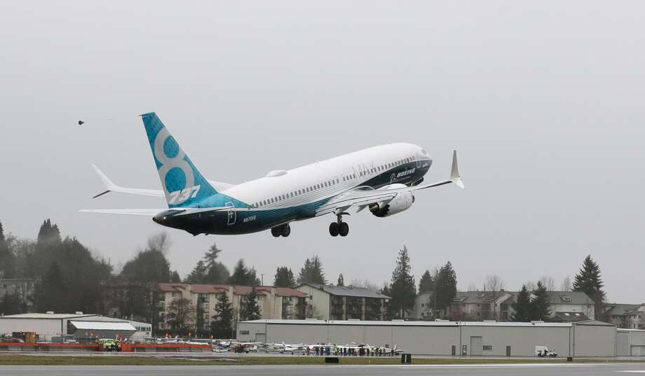 A Boeing 737 MAX airplane takes off on its first test flight, Friday, Jan. 29, 2016, in Renton, Wash. (AP Photo/Ted S. Warren) Photo: AP Photo/Ted S. Warren