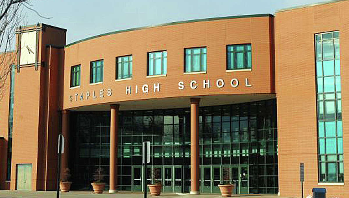 The main entrance to Staples High School in Westport.