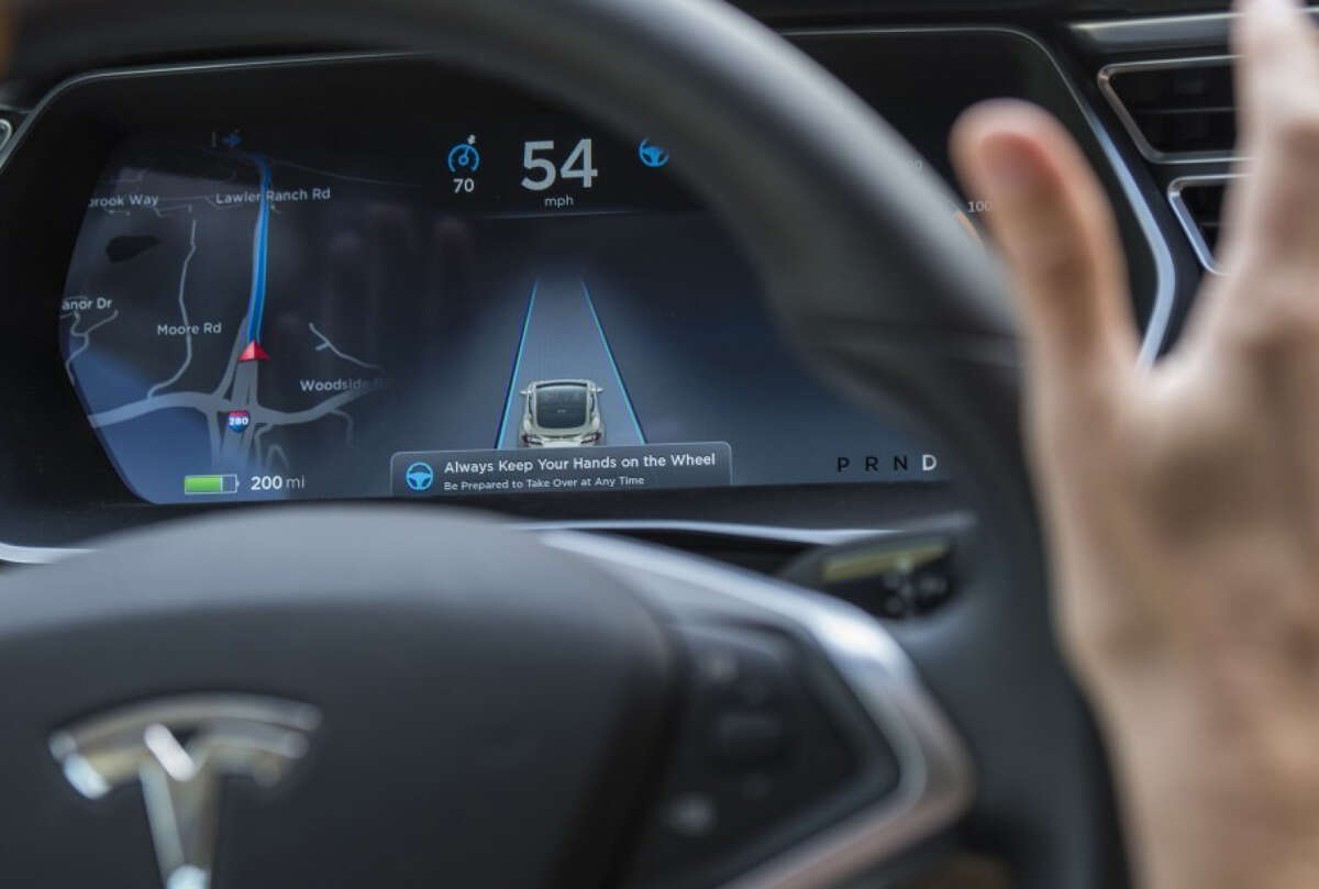 The dashboard of a Tesla Motors Model S car, equipped with Autopilot.