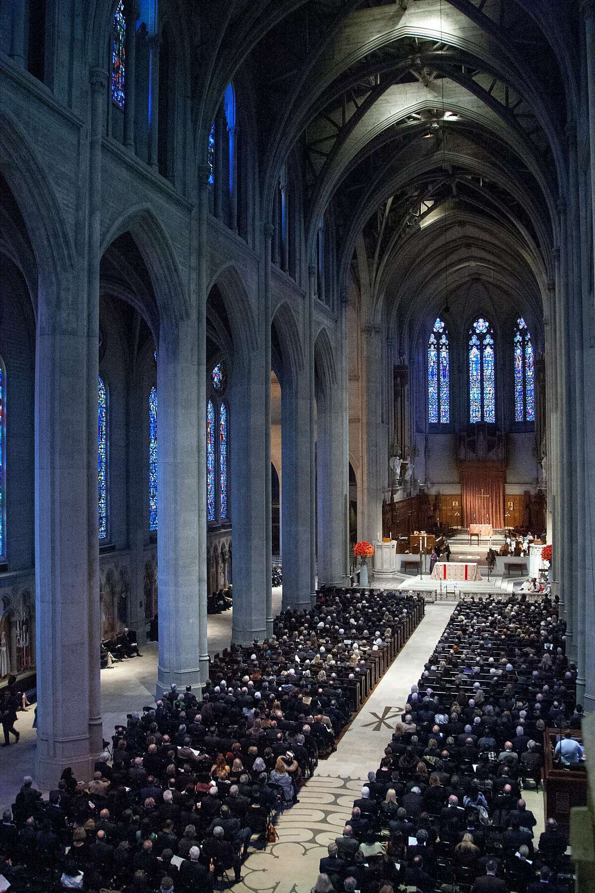 A few hundred people are inside Grace Cathedral for Wilkes Bashford's memorial service, Friday, Jan. 29, 2016, in San Francisco, Calif. Bashford was a luxury clothier and philanthropist.