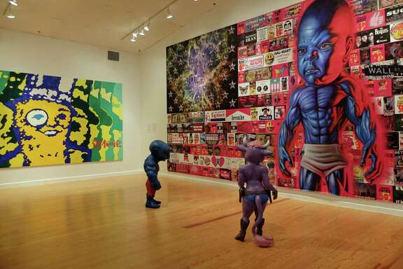 """A painting based on Mr. Peanut, by Clark Fox, above, and works by Ron English subvert iconic marketing imagery. Eugenio Merino's """"Always"""" sculptures, left, feature a rogue's gallery of world leaders."""