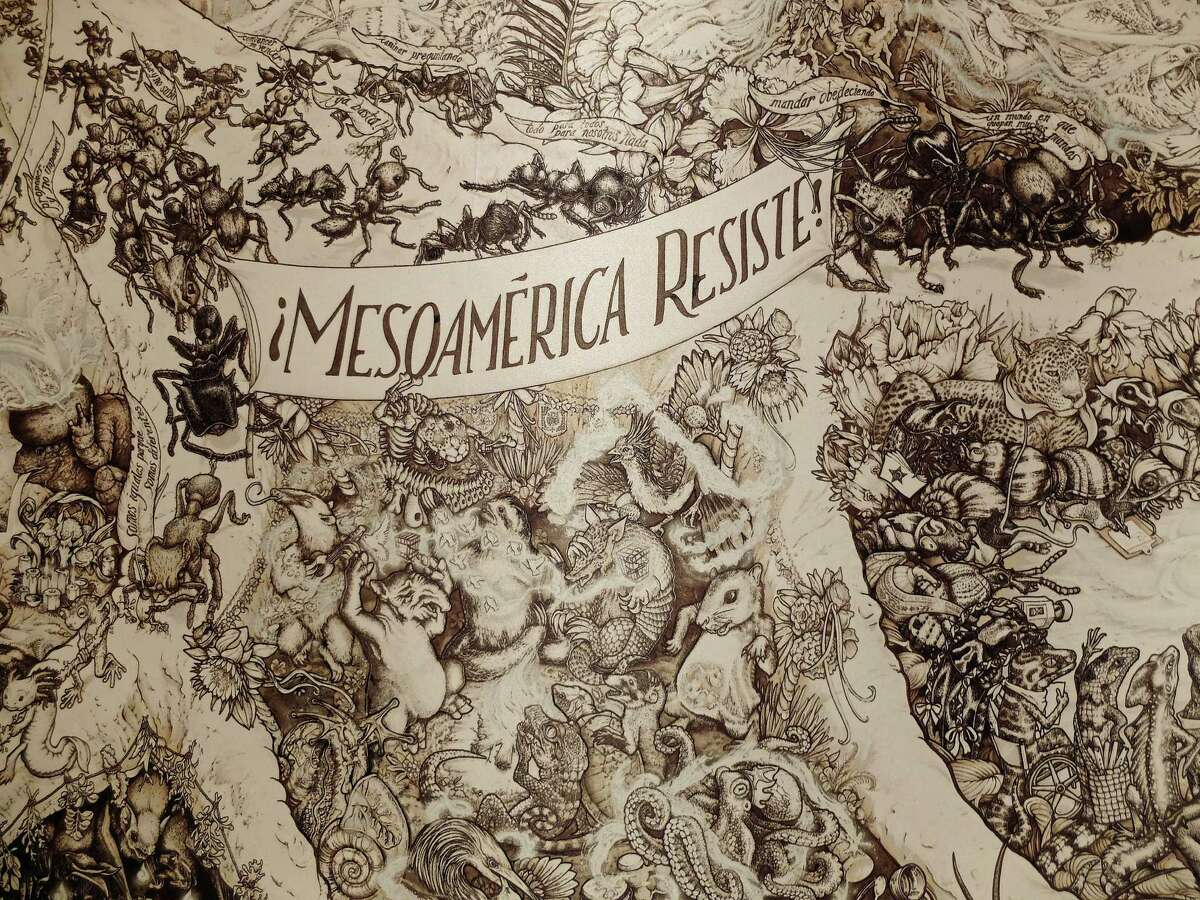 """A detail from the Beehive Design Collective's amazingly detailed """"MesoAmerica Resiste"""" graphics campaign, which involved nine years of research. It is on view in """"Corpocracy"""" through Feb. 14 at the Station Museum of Contemporary Art."""