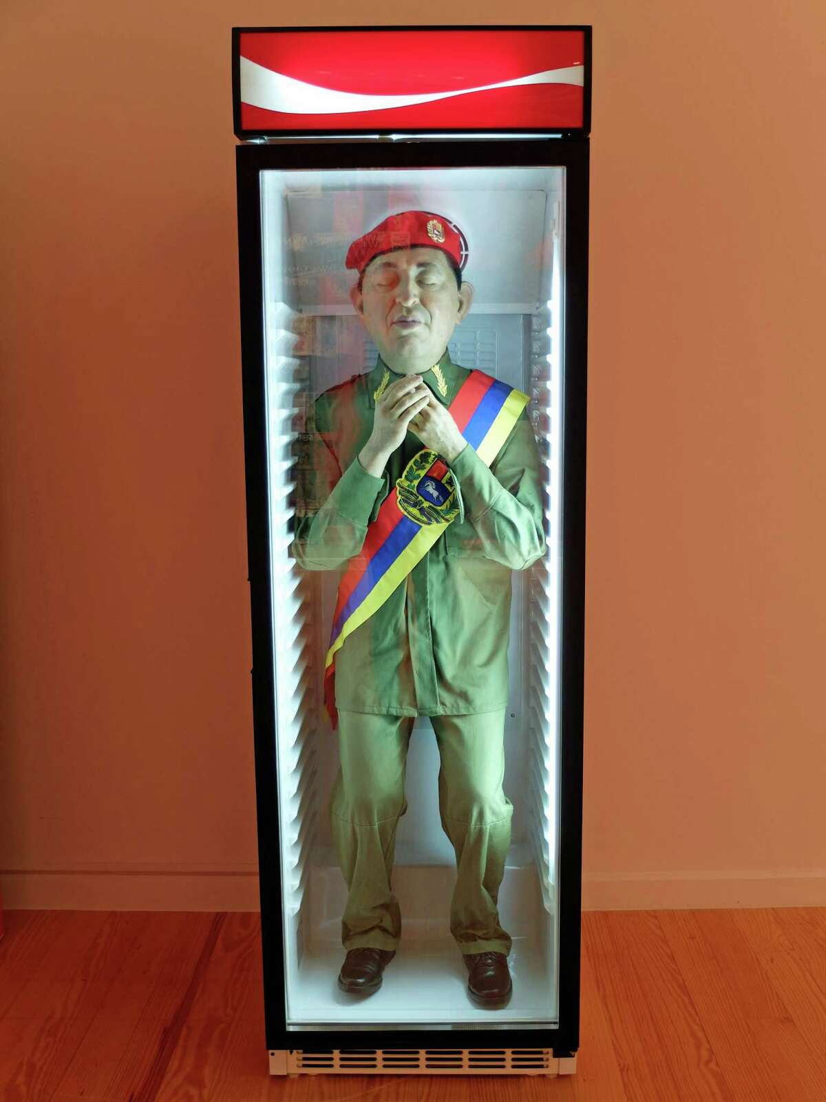"""Eugenio Merino's """"Always Chavez,"""" part of a series on view through Feb. 14 at the Station Museum of Contemporary Art in the exhibition """"Corpocracy."""""""