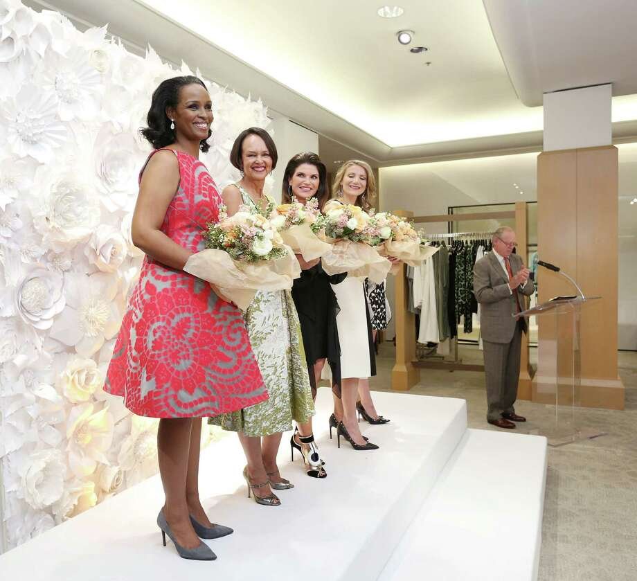 Winell Herron, from left, Gayla Gardner, Laura Davenport and Stephanie Cockrell smile onstage during the 2016 Houston Chronicle Best Dressed announcement party at Neiman Marcus in the Galleria. Photo: Jon Shapley, Staff / © 2015  Houston Chronicle