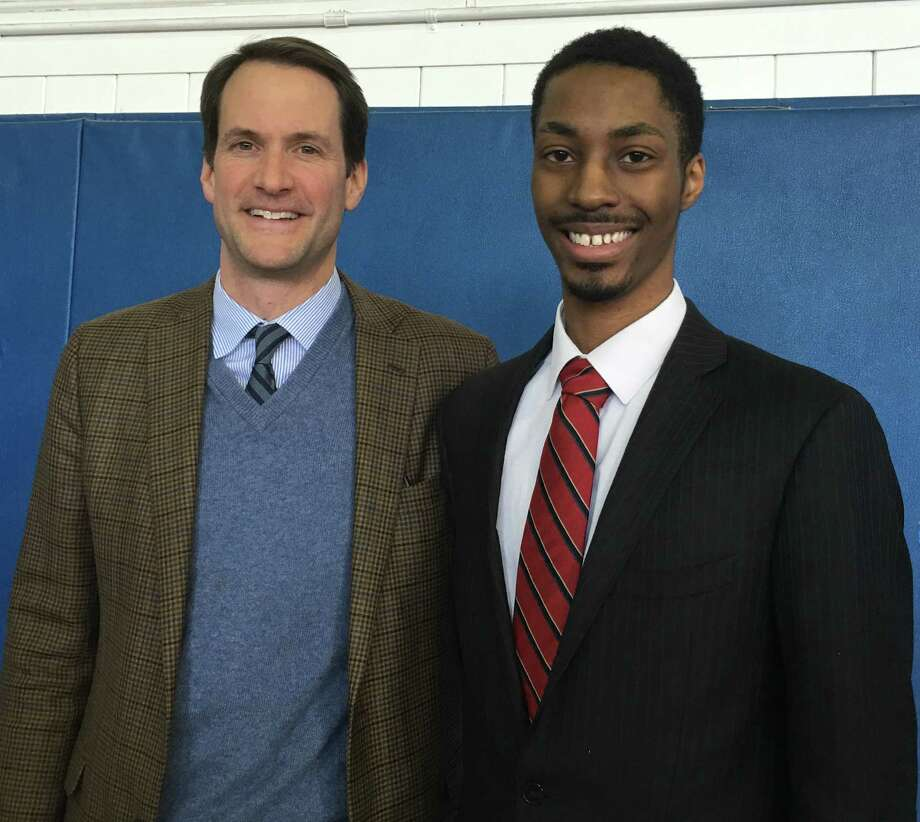 UConn senior and Stamford resident Michael Jean-Paul was awarded the Person-to-Person Martin Luther King, Jr. Scholarship on Jan. 16 at the Yerwood Center. Photo: Contributed / Contributed / Stamford Advocate Contributed