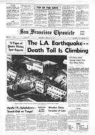 The Chronicle front page from February 10, 1971 covering the earthquake in Los Angeles.