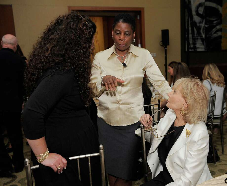 In this file photo from 2011, Chairman and CEO of Xerox Ursula Burns (C) and Barbara Walters (R) attend the FORTUNE Most Powerful Women Dinner in New York City.  (Photo by Jemal Countess/Getty Images for Time Inc.) Photo: Jemal Countess / Getty Images For Time Inc. / 2011 Getty Images