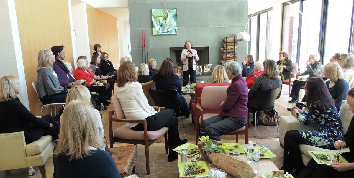 Mary-Jane Foster addresses the crowd at the Liberation Programs' Women-4-Women luncheon earlier this month.