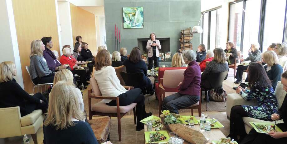 Mary-Jane Foster addresses the crowd at the Liberation Programs' Women-4-Women luncheon earlier this month. Photo: Contributed / Contributed / Stamford Advocate Contributed