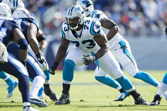 NASHVILLE, TN - NOVEMBER 15:  Michael Oher #73 of the Carolina Panthers blocks at the line during a game against the Tennessee Titans at Nissan Stadium on November 15, 2015 in Nashville, Tennessee.  (Photo by Wesley Hitt/Getty Images)
