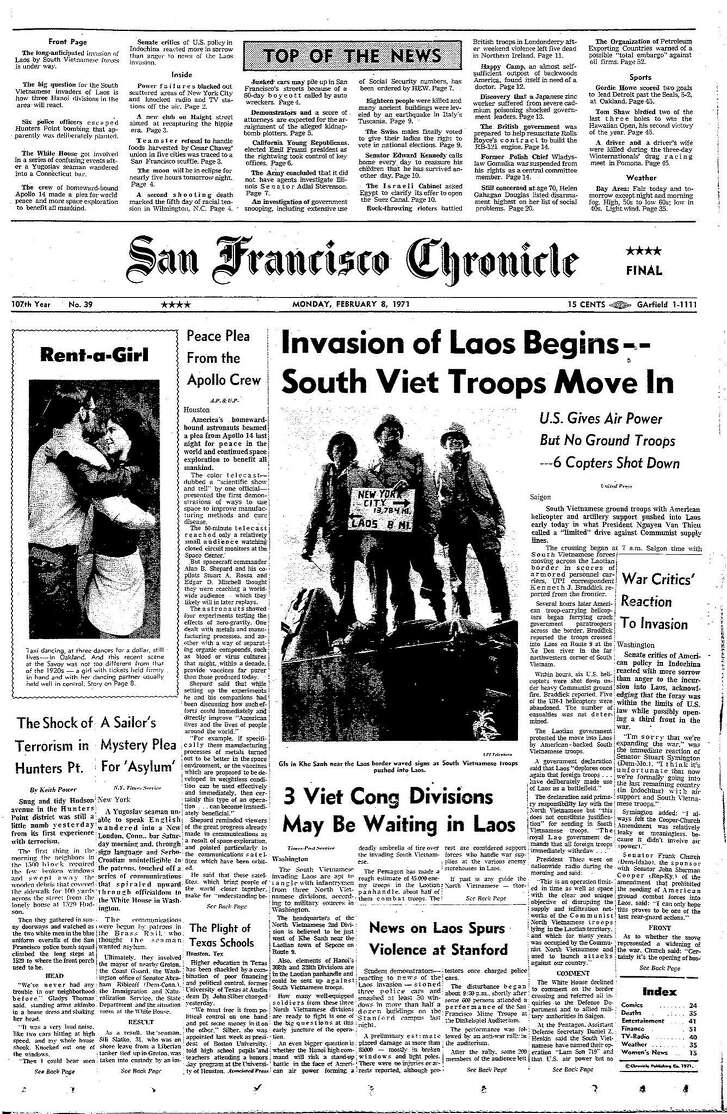 Historic Chronicle Front Page February 8, 1971 Invasion of Laos begins Chron365, Chroncover