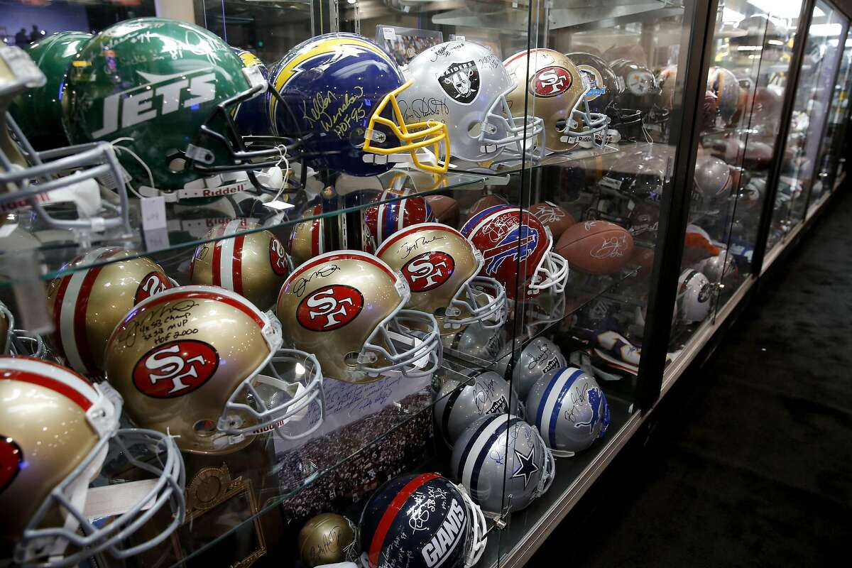 Display cases filled with memorabilia as the NFL Experience is set to open tomorrow throughout the Moscone Convention Center in downtown as part of Super Bowl 50 festivities as seen on Fri. January 29, 2016, in San Francisco, Calif.