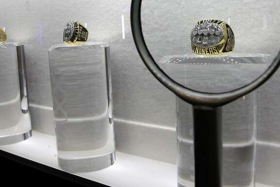 The Super Bowl ring display features the San Francisco 49ers' fifth Super Bowl victory over the San Diego Chargers, as the NFL Experience is set to open tomorrow throughout the Moscone Convention Center in downtown as part of Super Bowl 50 festivities as seen on Fri. January 29, 2016, in San Francisco, Calif.