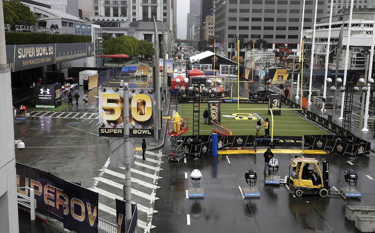 Howard Street is filled will displays as the NFL Experience is set to open tomorrow throughout the Moscone Convention Center in downtown as part of Super Bowl 50 festivities as seen on Fri. January 29, 2016, in San Francisco, Calif.