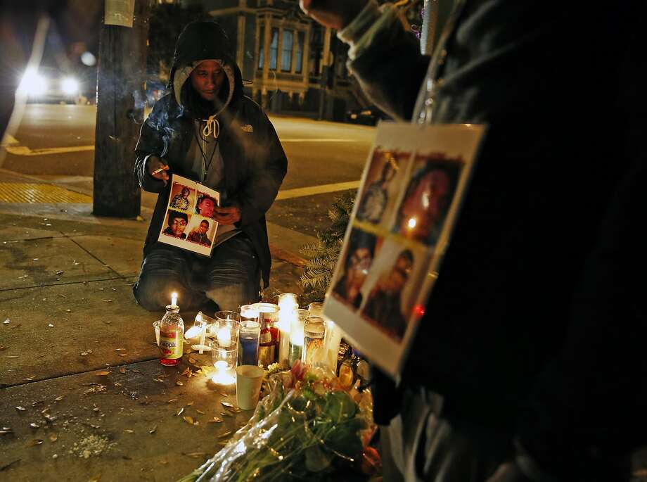 Daryis Mackey attends a vigil in January 2015 for the victims of a quadruple homicide in Hayes Valley. Photo: Scott Strazzante, The Chronicle