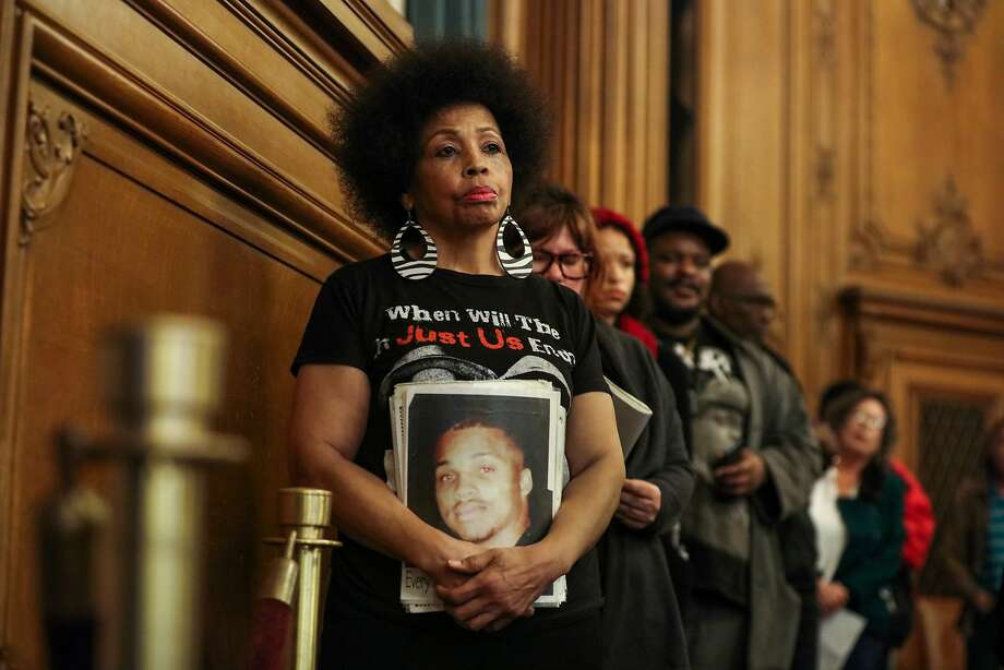 Mattie Scott waits to speak to the Board of Supervisors at City Hall, where she goes several times a month with other African American mothers to plead for the police to arrest someone in their sons' homicides. Photo: Gabrielle Lurie, Special To The Chronicle