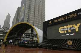 The Fan Energy Zone at Super Bowl City is seen during a preview tour of Super Bowl 50 official fan attractions Friday, Jan. 29, 2016, in San Francisco. The attractions open on Saturday. (AP Photo/Eric Risberg)