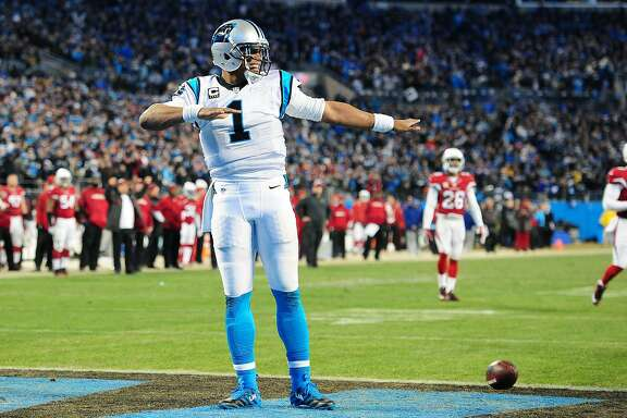 CHARLOTTE, NC - JANUARY 24: Cam Newton #1 of the Carolina Panthers celebrates after a score against the Arizona Cardinals during the NFC Championship Game at Bank Of America Stadium on January 24, 2016 in Charlotte, North Carolina. (Photo by Scott Cunningham/Getty Images)
