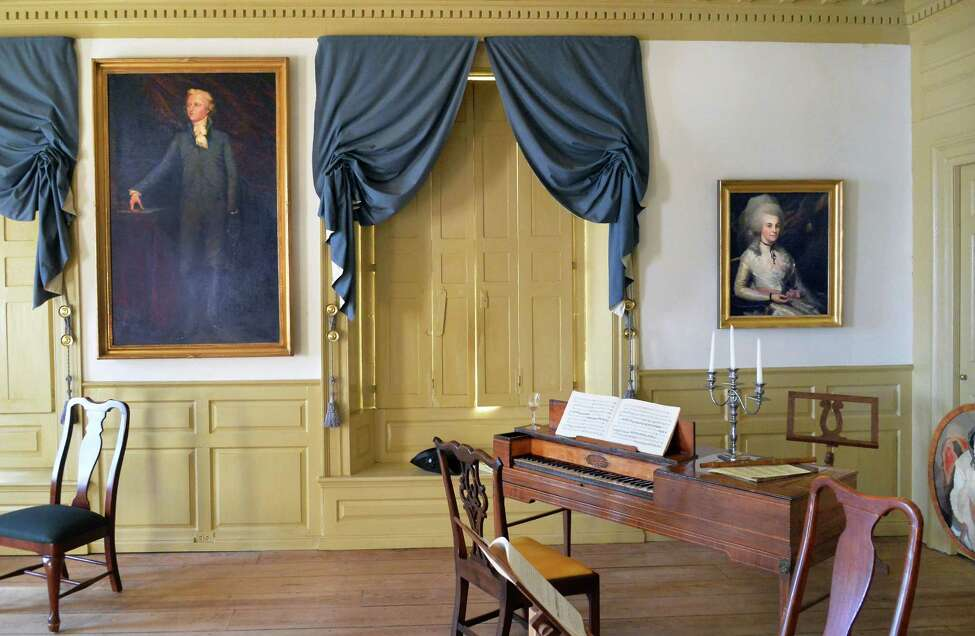 Portraits of Alexander Hamilton and his wife Elizabeth Schuyler Hamilton in the best parlor at Schuyler Mansion Thursday Jan. 28, 2016 in Albany, NY. They were married in this room. (John Carl D'Annibale / Times Union)