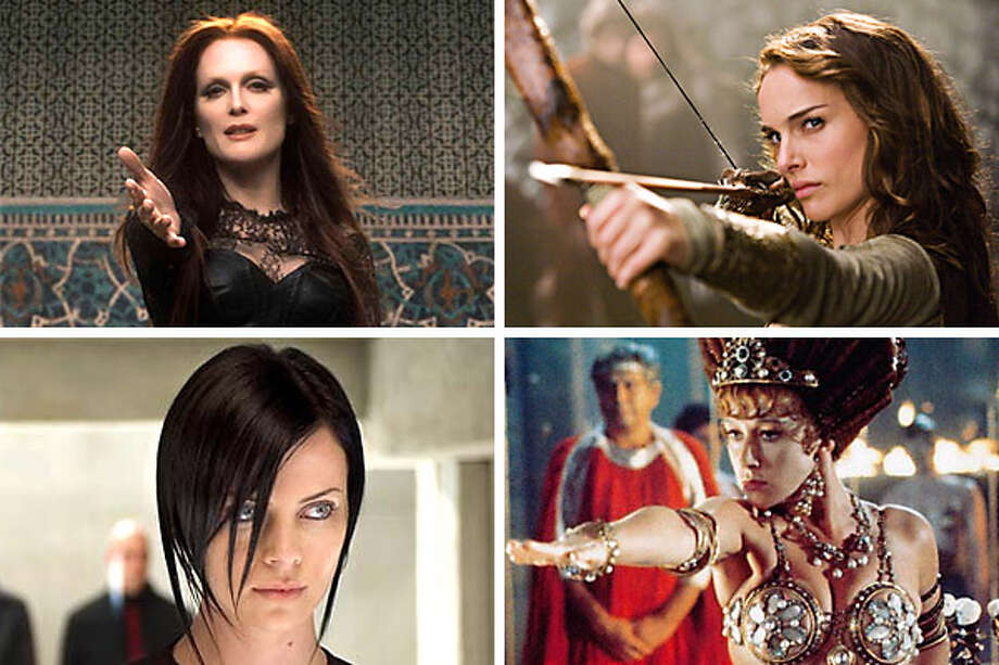 "They'll always have Oscar, but these fine actresses would probably rather forget their roles in these stinkers (clockwise from upper left): Julianne Moore in ""Seventh Son,"" Natalie Portman in ""Your Highness,"" Helen Mirren in ""Caligula"" and Charlize Theron in ""Aeon Flux."""