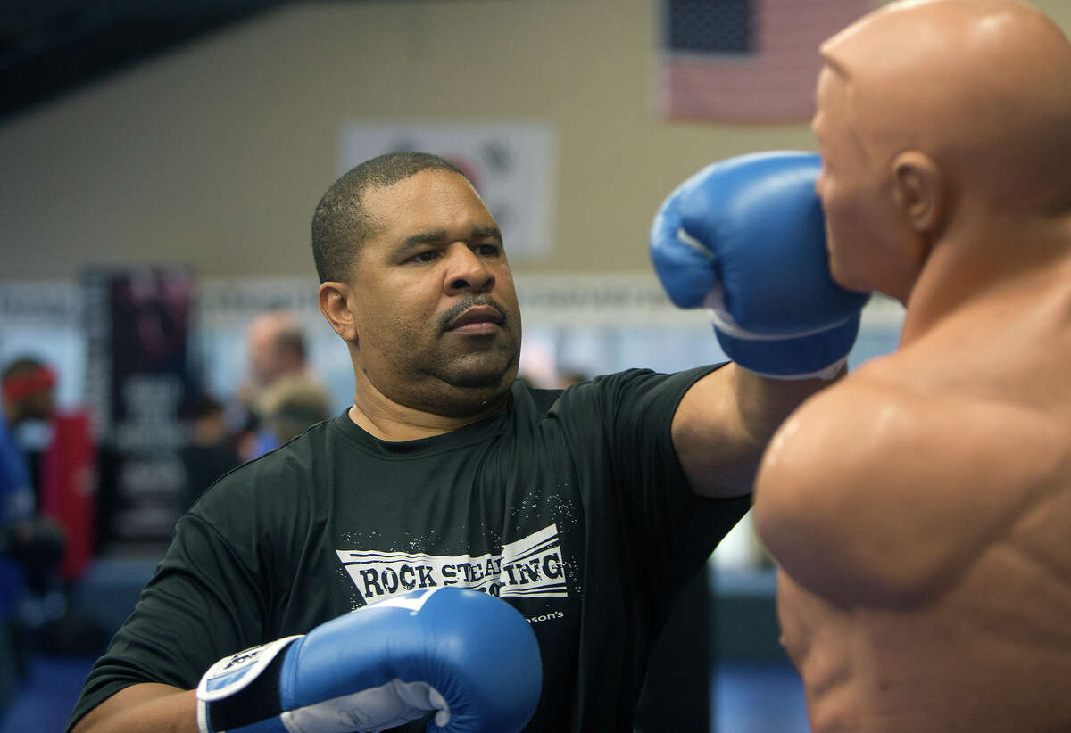 Johnny Cornish, 47, works out during a boxing class for people with Parkinson's disease at Battenberg's Blackbelt Academy, Inc, Thursday, Jan. 21, 2016, in Kingwood.