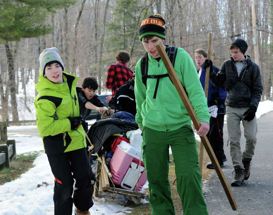 The annual Greenwich Boy Scouts Klondike Derby at the Ernest Thompson Seton Reservation in Greenwich, Conn., Saturday, Jan. 30, 2016. The snow provided the perfect environment to test the survival, camping and outdoor skills of Boy Scouts in competitions that included fire building, first aid, and shelter building. Photo: Bob Luckey Jr., Hearst Connecticut Media / Greenwich Time
