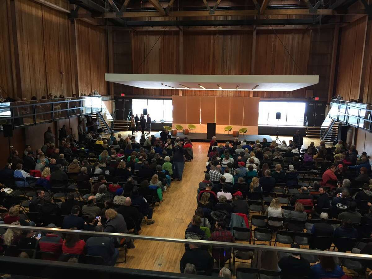 Hoosick Falls residents assembled at Bennington College on Saturday, Jan. 30, 2016, to hear Erin Brockovich and lawyers discuss their options after their town water supply was found to be contaminated with the industrical chemical PFOA. (Matthew Hamilton/Times Union)