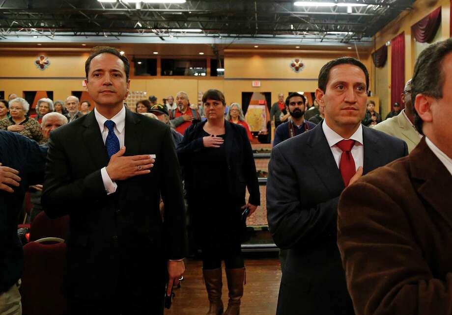 State Sen. Jose Menendez,L, and challenger Trey Martinez Fischer, candidates for Texas Senate District 26, before a debate on Friday, January 29, 2016 at the Guadalupe Cultural Arts Center. The two candidates have combined to spend more than $1.25 million in a closely-watched rematch.  Photo: Ronald Cortes, Freelance / For The Express And / For the Express and News