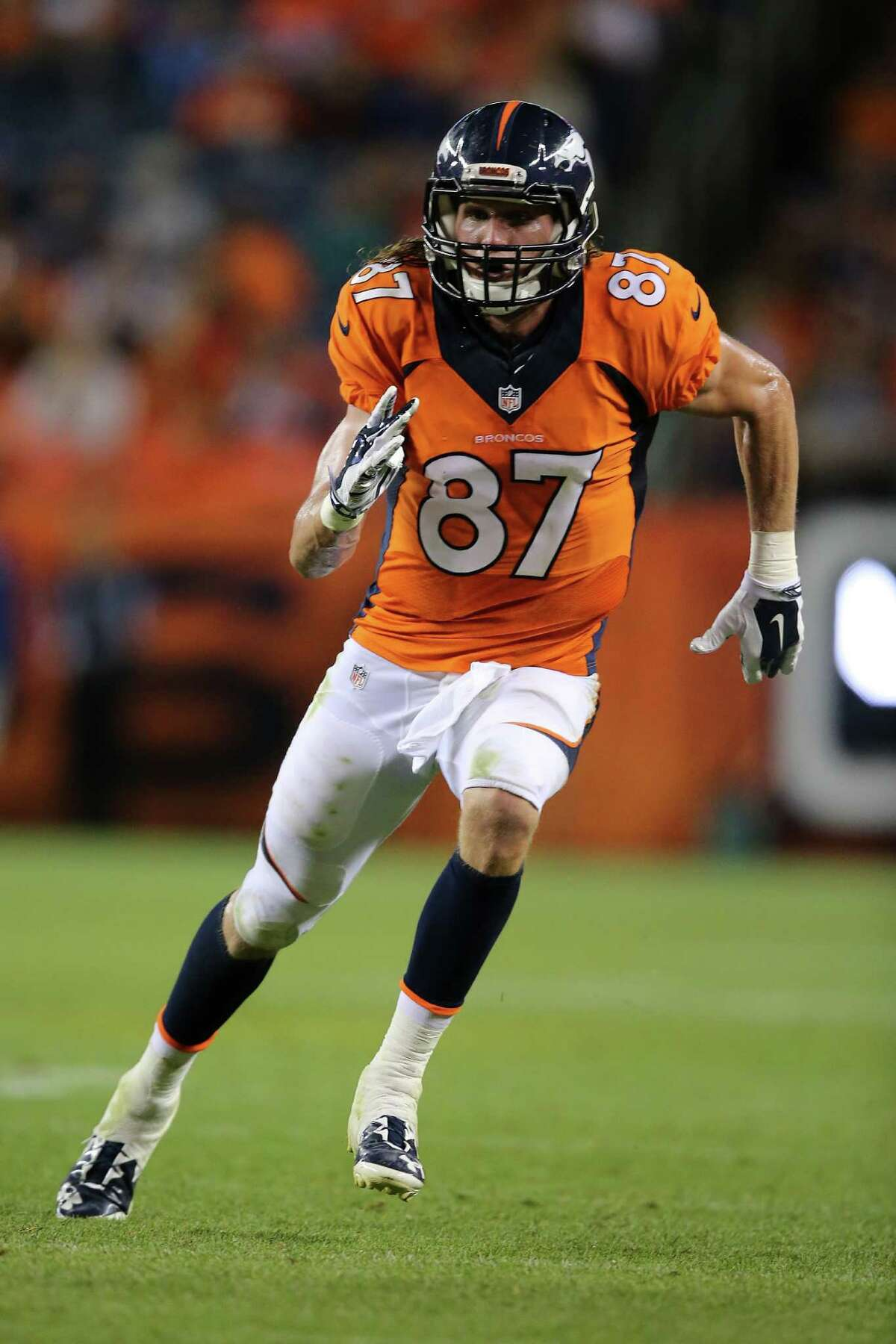 DENVER, CO - SEPTEMBER 03: Wide receiver Jordan Taylor #87 of the Denver Broncos takes the field against the Arizona Cardinals during preseason action at Sports Authority Field at Mile High on September 3, 2015 in Denver, Colorado. The Cardinals defeated the Broncos 22-20.