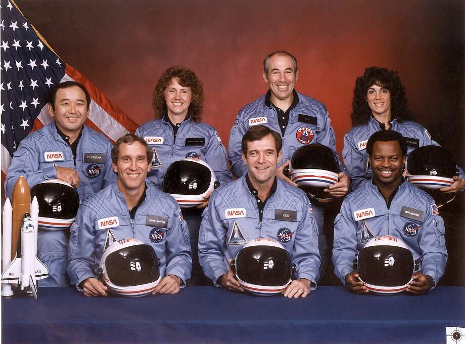 The crew of Space Shuttle Challenger, clockwise from front left, Mike Smith, Dick Scobee, Ron McNair, Judith Resnik, Greg Jarvis, schoolteacher Christa McAuliffe and Ellison Onizuka. >>Take a look back on the tragic day that forever changed NASA... Photo: NASA, Stringer / AFP