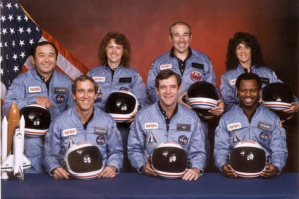 Thursday marked three decades since the Challenger fell, taking with it all of its crew: (from left, front row) astronauts Mike Smith, Dick Scobee and Ron McNair and (back row) Ellison Onizuka, schoolteacher Christa McAuliffe, Greg Jarvis and Judith Resnik.