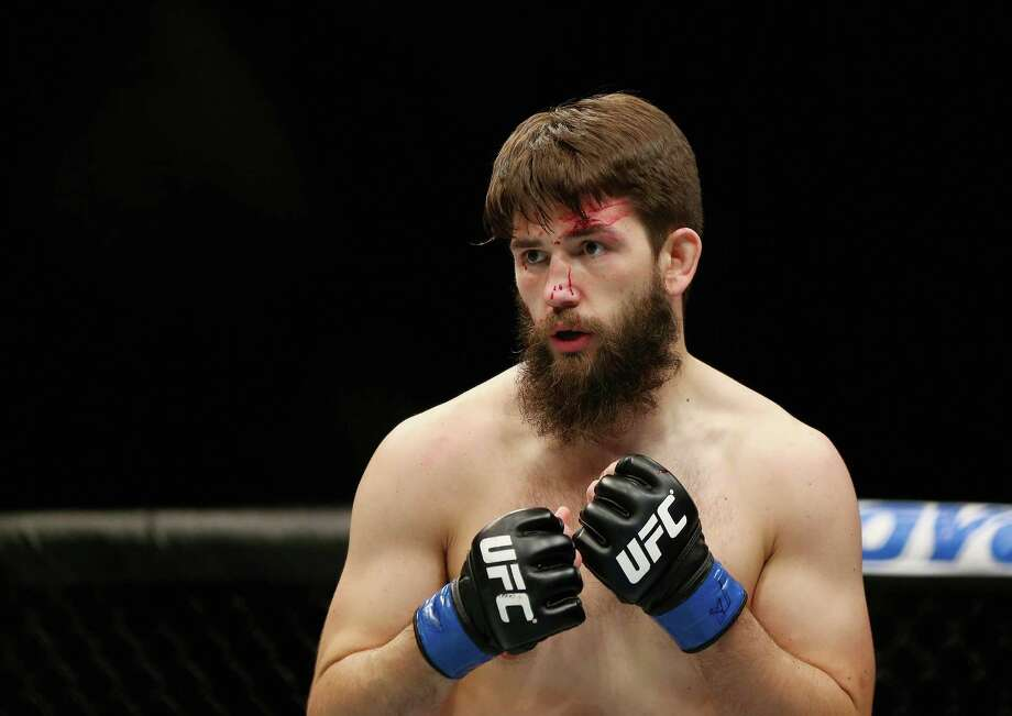 NEWARK, NJ - JANUARY 30:  Bryan Barberena of the United States looks on while fighting against Sage Northcutt of the United States (not pictured) in the first round of their welterweight bout during the UFC Fight Night event at the Prudential Center on January 30, 2016 in Newark, New Jersey. Photo: Elsa, Getty Images / 2016 Getty Images