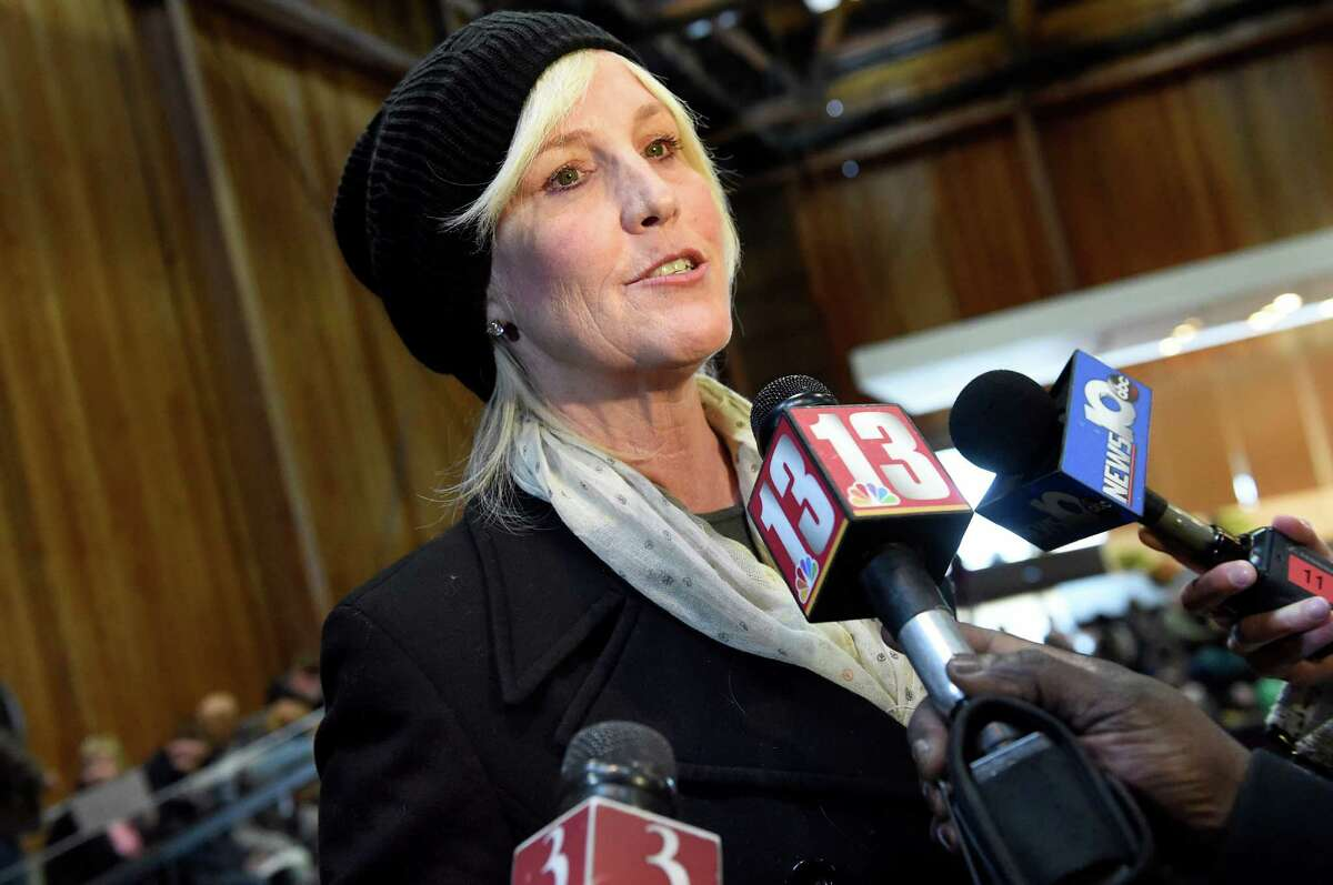 Environmental activist Erin Brockovich speaks with the media before leading a community meeting addressing the PFOA groundwater contamination in the village and wells in the Town of Hoosick on Saturday, Jan. 30, 2016, at Bennington College in Bennington, Vt. (Cindy Schultz / Times Union)