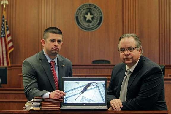 Galveston County District Attorney Jack Roady, right, and Matthew Shawhan, an assistant district attorney for the county, show an image of a screwdriver believed to have been used by German Perez-Vasquez in a homicide. DNA analysis on the screwdriver initially showed there was a 1 in 290 million chance that a different person of a similar ethnic background to the defendant had touched it. The new protocol, released back in January 2010 but implemented unevenly across the country, found a 1 in 38 chance.