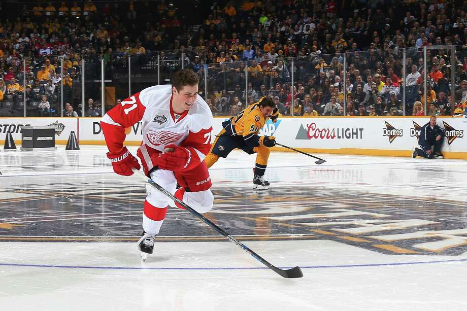 NASHVILLE, TN - JANUARY 30:  Dylan Larkin #71 of the Detroit Red Wings competes in the Bridgestone NHL Fastest Skater during the 2016 Honda NHL All-Star Skill Competition at Bridgestone Arena on January 30, 2016 in Nashville, Tennessee.  (Photo by Bruce Bennett/Getty Images) ORG XMIT: 601384993 Photo: Bruce Bennett / 2016 Getty Images