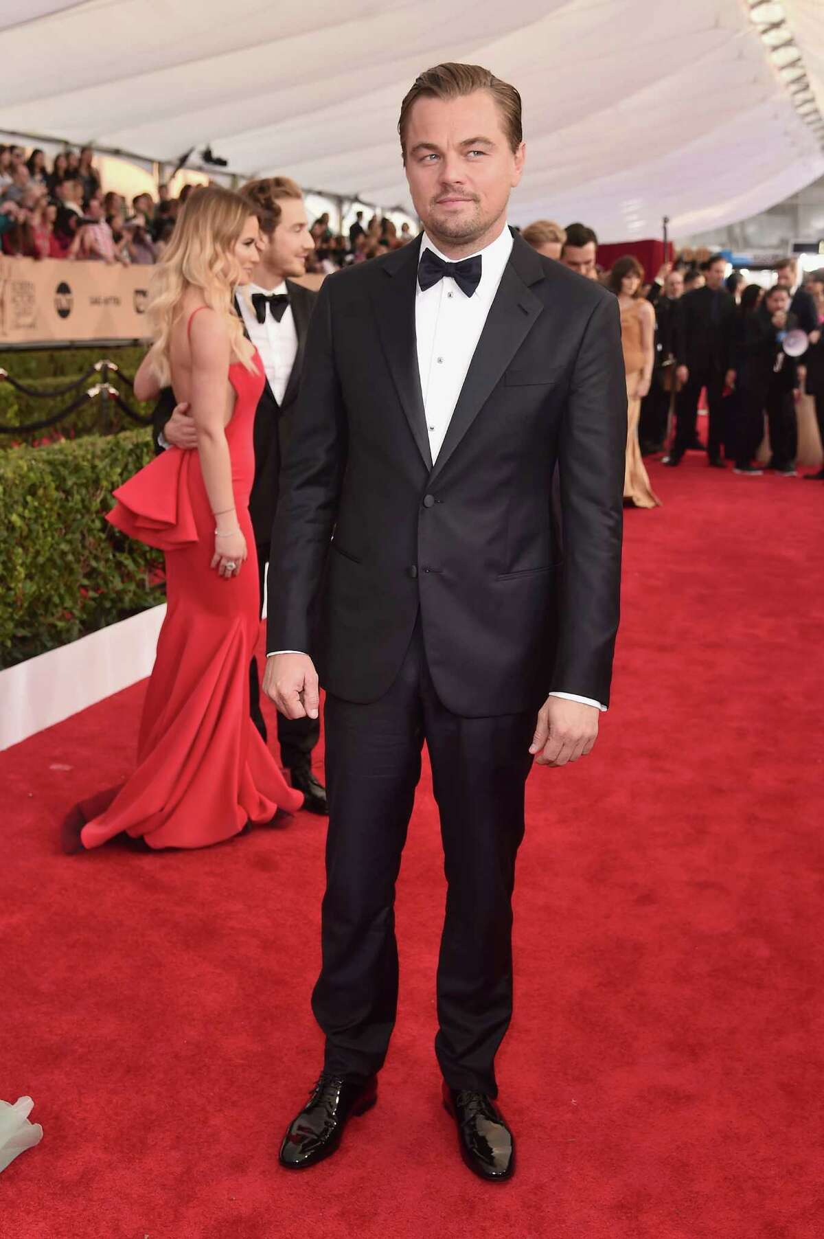 Actor Leonardo DiCaprio attends the 22nd annual Screen Actors Guild Awards at the Shrine Auditorium in Los Angeles on Jan. 30, 2016. DiCaprio won his second major award for