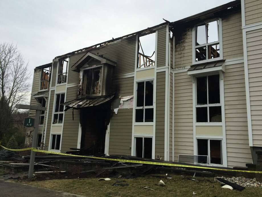 Six apartments were destroyed in a fire at Regency Park Apartments on Western Avenue in Guilderland Jan. 31, 2016. (Lauren Stanforth)
