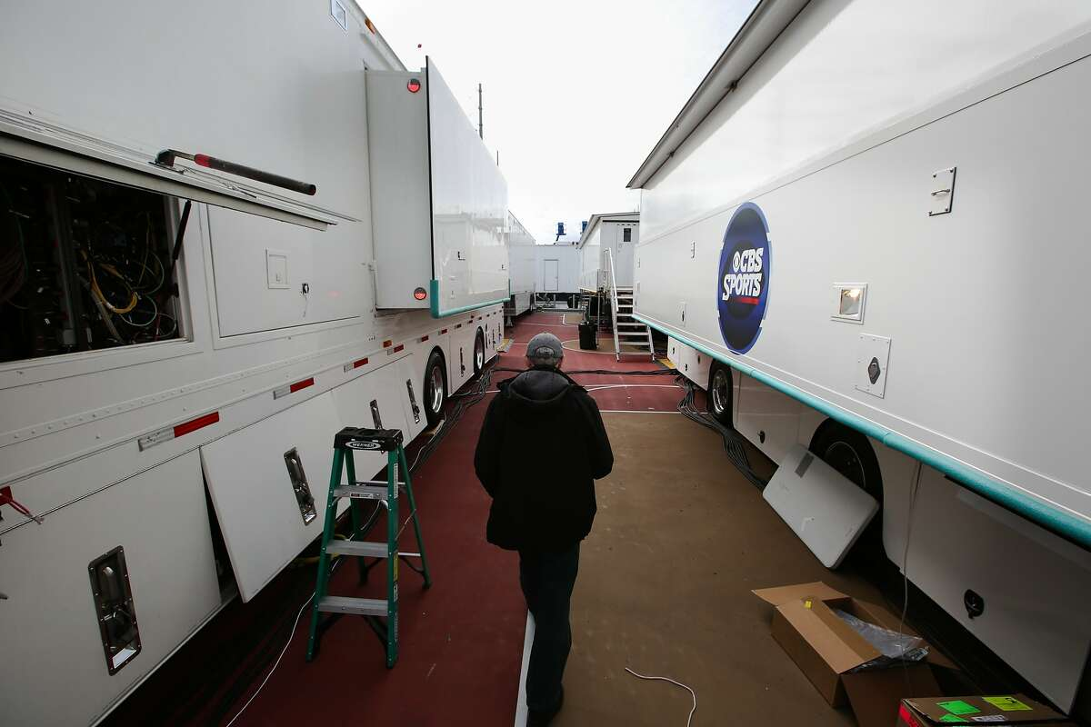Ken Aagaard walks through the CBS broadcasting compound at Levi's Stadium in Santa clara, Calif. on Saturday, January 30, 2016. About a dozen trailers parked behind Levi's Stadium will be aiding in the broadcast of the Super Bowl.