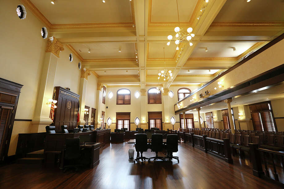 The double height courtroom is part of the restoration of the Bexar County Courthouse, Monday, July 13, 2015. The two-story The multistory 1960's Gondeck Addition has been removed restoring a 1900's look to the building. Photo: JERRY LARA, Staff / San Antonio Express-News / © 2015 San Antonio Express-News