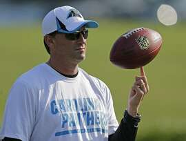 File-This July 26, 2013, file photo shows Carolina Panthers offensive coordinator Mike Shula spinning a football on his finger during practice at NFL football training camp in Spartanburg, S.C. Hall of Fame coach Shula is rooting for the Carolina Panthers to join his 1972 Miami Dolphins as the only undefeated Super Bowl champion. (AP Photo/Chuck Burton, File)