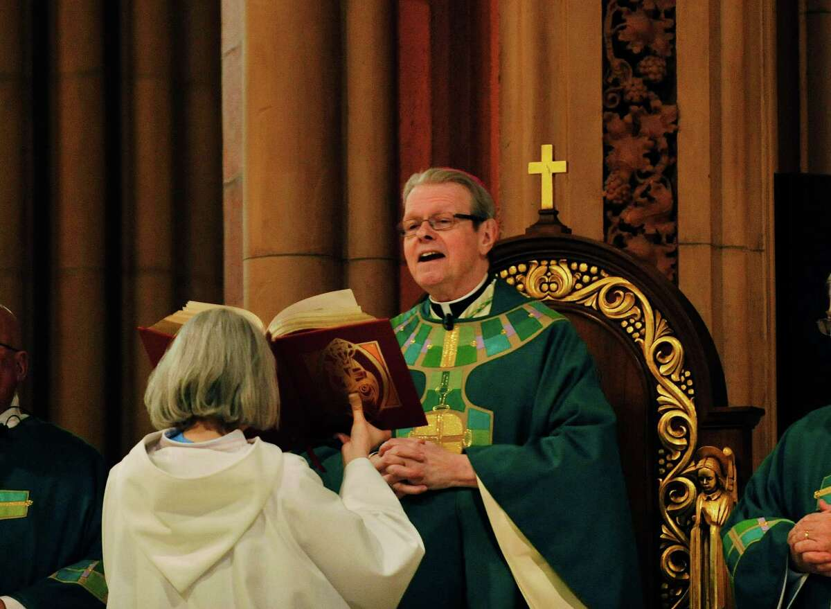 Bishop Edward B. Scharfenberger leads a mass to celebrate the start of National Catholic Schools Week in the Roman Catholic Diocese of Albany on Sunday, Jan. 31, 2016, at the Cathedral of the Immaculate Conception in Albany, N.Y. (Paul Buckowski / Times Union)
