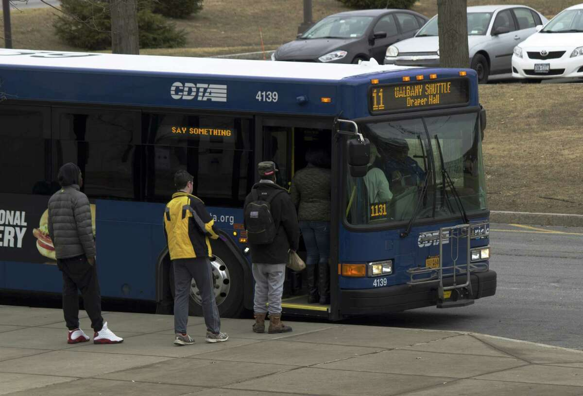 Albany police and the UAlbany University Police Department are investigating an assault, allegedly racially motivated, on three African-American students on a CDTA bus early Jan. 30. This CDTA bus is parked Jan. 31 at the same location outside of the Social Sciences building where the alleged incident occurred. (Jonathan Peters / Albany Student Press)