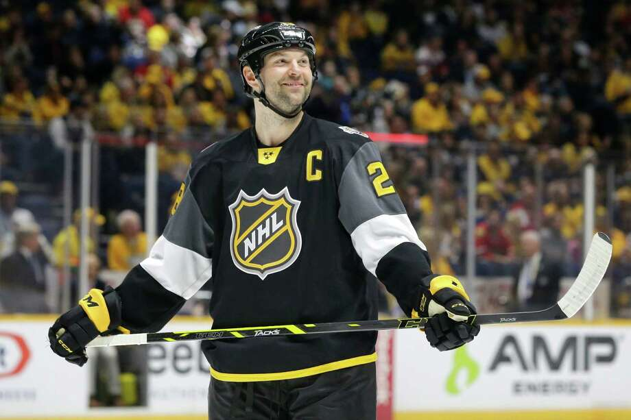 27f315d2c58 Pacific Division forward John Scott looks into the stands during the NHL  hockey All-Star