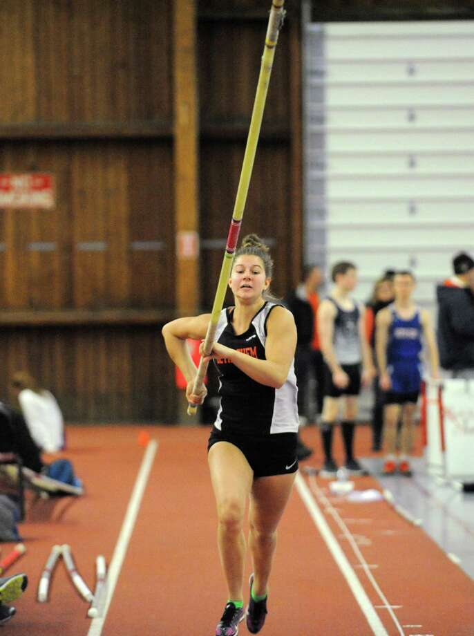Bethlehem High pole valuter Tedi DeMaria during a meet at Union College on Saturday Jan. 16, 2016 in Schenectady, N.Y. (Michael P. Farrell/Times Union) Photo: Michael P. Farrell / 10035020A