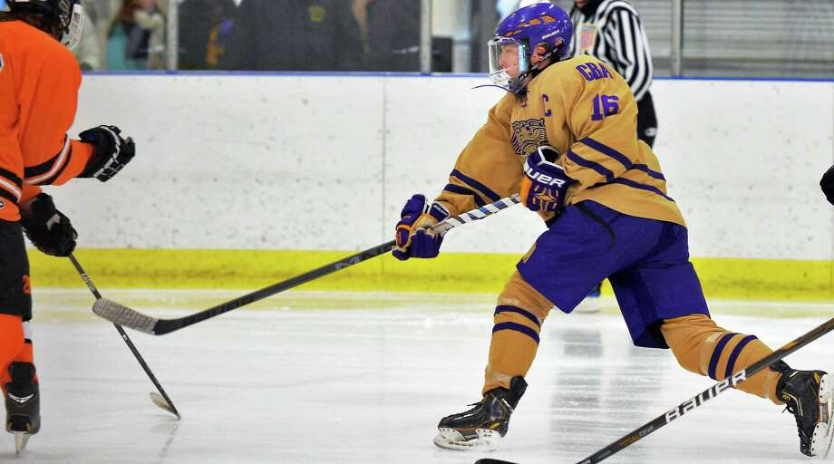CBA's #16 Robby West scores 's during Saturday's game against Bethlehem High at the Albany County Ice Rink Jan. 30, 2016 in Colonie, NY.  (John Carl D'Annibale / Times Union) Photo: John Carl D'Annibale / 10035159A